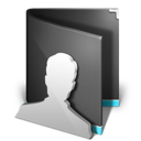 black, folder, users icon