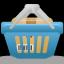 cesta, llena, el icono de compras